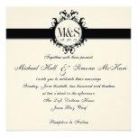 Chic Damask Monograms Wedding Black Cream Invitations