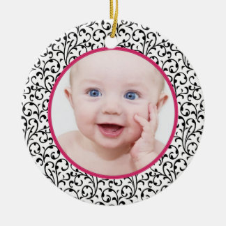 Chic Damask Pink Baby s First Christmas Ornament