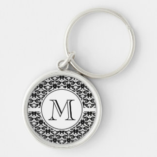Chic Damask Silver-Colored Round Keychain