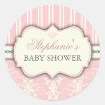 Chic Damask & Stripe Baby Shower Favor Sticker
