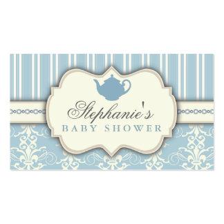 Chic Damask & Stripe Baby Shower Tea Favor Tag Business Card