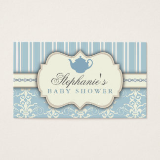 Chic Damask & Stripe Baby Shower Tea Favor Tag Business Card