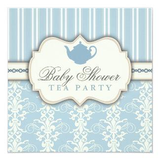 Chic Damask & Stripe Baby Shower Tea Invitation