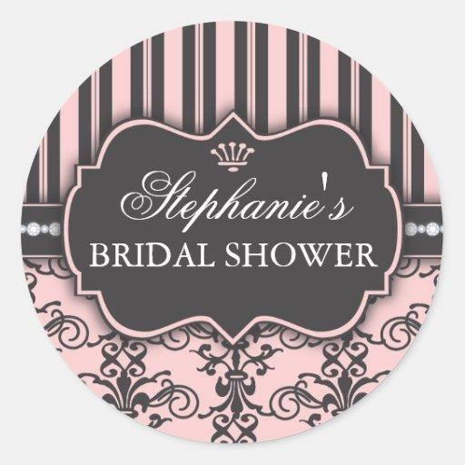 Chic Damask & Stripe Bridal Shower Favor Sticker