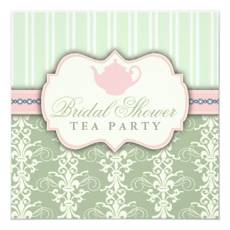 """Chic Damask & Stripe Bridal Shower Tea Invitation 5.25"""" Square Invitation Card"""