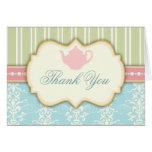 Chic Damask & Stripe Tea Thank You Card