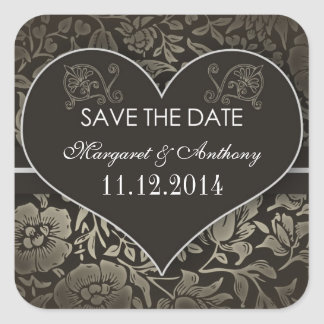 chic damask vintage save the date stickers