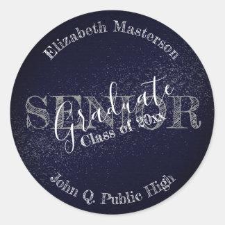 Chic Dark Blue Graduation Graduate Senior Class Classic Round Sticker