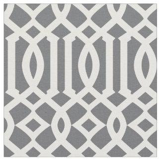 Chic Dark Gray and White Trellis Lattice Pattern Fabric