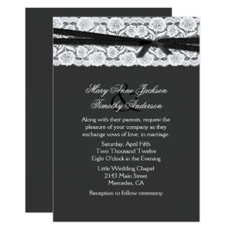 Chic Dark Gray with White Lace Wedding Card