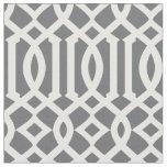 Chic Dark Grey and White Trellis Lattice Pattern Fabric