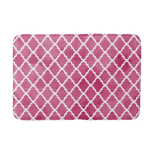 Chic Dark Pink Watercolor Style Quatrefoil Pattern Bath Mat