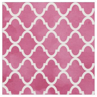 Chic Dark Pink Watercolor Style Quatrefoil Pattern Fabric
