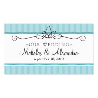 Chic Deco Aqua Blue Wedding Website Card Business Card Template