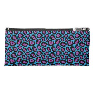 Chic Designer Blue/Pink Leopard Print Pencil Case