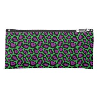 Chic Designer Green/Purple Leopard Print Pencil Case