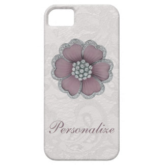 Chic Diamond Flower on White Paisley Lace iPhone 5 Covers