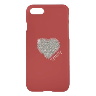 Chic Diamond Heart Custom Red iPhone 7/8 Case