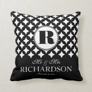 Chic Diamond Pattern Couple Mr and Mrs Throw Pillow