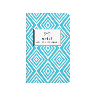 Chic Diamonds Pattern | Turquoise Personalized Journal
