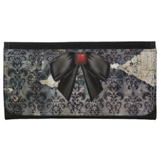 Chic Distressed Goth Damask Wallet