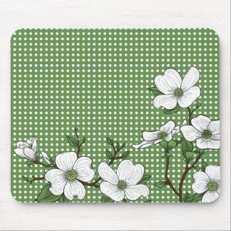 Chic Dogwood Blossoms & Polka Dots Mouse Pad