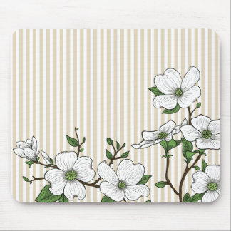 Chic Dogwood Blossoms & Stripes Mouse Pad