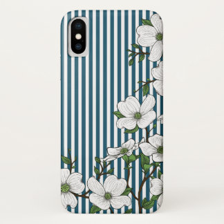 Chic Dogwood Blossoms & Stripes Pattern iPhone X Case