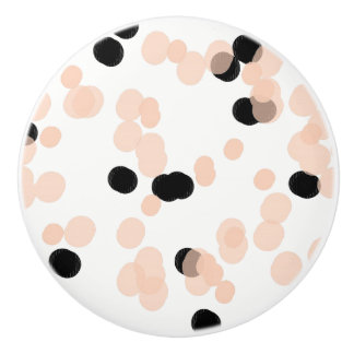 CHIC DRAWER KNOBS_GIRLY BLUSH/BLACK DOTS  ON WHITE CERAMIC KNOB