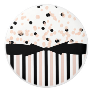 CHIC DRAWER KNOBS_GIRLY BLUSH/BLACK DOTS & STRIPES CERAMIC KNOB