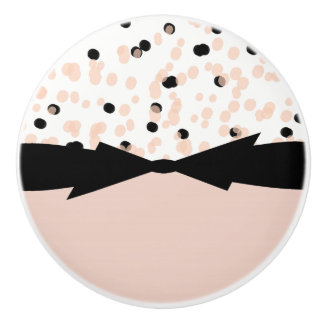 CHIC DRAWER KNOBS_GIRLY BLUSH/BLACK DOTS WITH BOW. CERAMIC KNOB