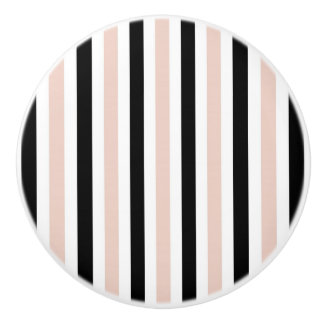 CHIC DRAWER KNOBS_GIRLY BLUSH/BLACK/WHITE STRIPES CERAMIC KNOB