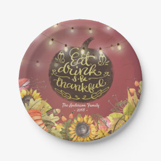 Chic Eat Drink & Be Thankful Thanksgiving  Dinner Paper Plate