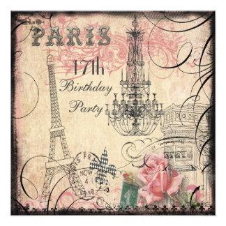 Chic Eiffel Tower Chandelier 17th Birthday Custom Invitations