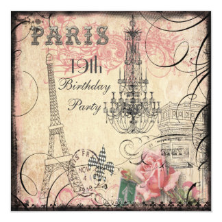 "Chic Eiffel Tower & Chandelier 19th Birthday 5.25"" Square Invitation Card"