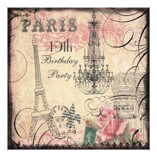 Chic Eiffel Tower & Chandelier 19th Birthday Personalized Invitation