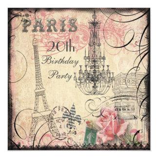 "Chic Eiffel Tower & Chandelier 20th Birthday 5.25"" Square Invitation Card"