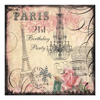 Chic Eiffel Tower Chandelier 21st Birthday Personalized Invitation
