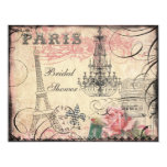 "Chic Eiffel Tower & Chandelier Bridal Shower 4.25"" X 5.5"" Invitation Card"
