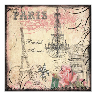 "Chic Eiffel Tower & Chandelier Bridal Shower 5.25"" Square Invitation Card"