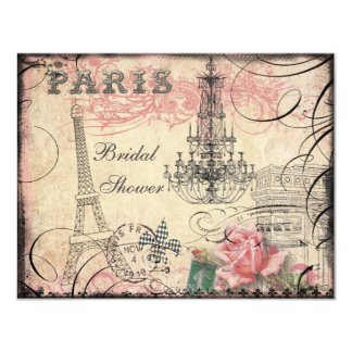 Chic Eiffel Tower & Chandelier Bridal Shower Card