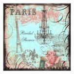 Chic Eiffel Tower & Chandelier Bridal Shower Invite