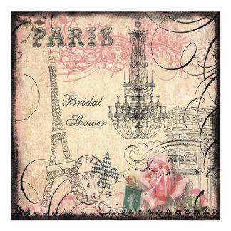 Chic Eiffel Tower Chandelier Bridal Shower Custom Invitations