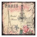 Chic Eiffel Tower & Chandelier Bridal Shower Custom Invitations