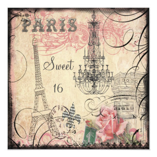 "Chic Eiffel Tower & Chandelier Sweet 16 5.25"" Square Invitation Card"