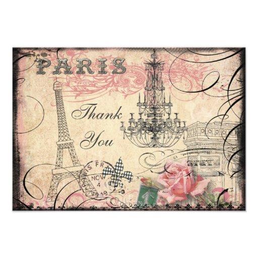 Chic Eiffel Tower & Chandelier Thank You Custom Invitations