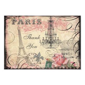 "Chic Eiffel Tower & Chandelier Thank You 3.5"" X 5"" Invitation Card"