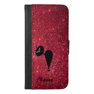 Chic elegant black cat  glittery look personalized iPhone 6/6s plus wallet case