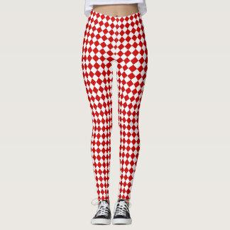 Chic Elegant Bright Red White Diamond Pattern Leggings