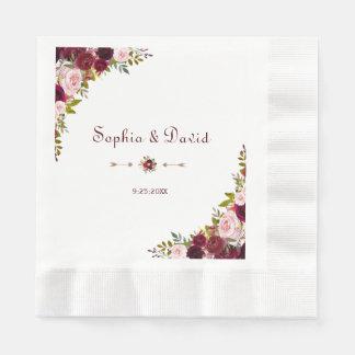 Chic Elegant Burgundy Marsala Floral Wedding Paper Napkins
